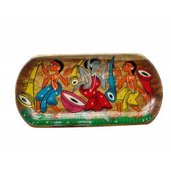 Traditional Colourful Kalighat Art Handpainted Serving Tray / Platter