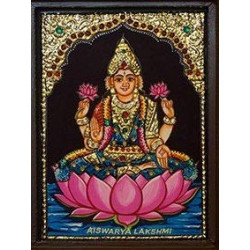Rajasthan Emporium and Handicrafts Goddess Laxmi Tanjore Painting with Frame (6 x 8 Inch)