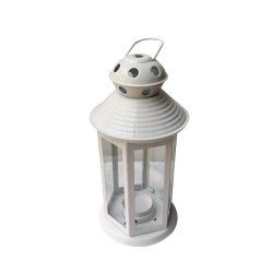 Decorative Painted Metal Lantern Shape Outdoor/ Indoor Hanging Tealight Candle Holder