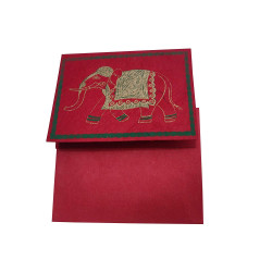 Handmade Paper Traditional Elephant Design Red Color Greeting Card with Envelope (Pack of 10)