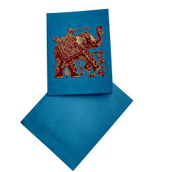 Handmade Paper Blue Mini Greeting Card with Elephant Design (Pack of 10)