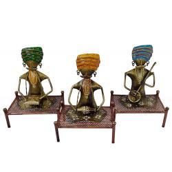 Handcrafted Wrought Iron Set of 3 Musician Set Home Decor Set Rajasthani Handicraft