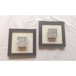 Set of Two Framed Wooden Handcrafted Blocks Rajasthani Blocks Wall Hanging Wooden Blocks Wall Hanging