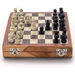 "Handcrafted Marble and Wooden Chess Board Chess Game Set with Marble Pieces 8"" Board"
