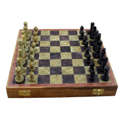 Handcrafted Wooden and Marble Chess Board with Marble Pawns 10 Inch Chess Set Gift