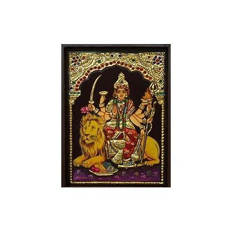 "Decorative Durga Mata Tanjore Painting With Frame/ Durga Ma Tanjore Painting 8"" x 10"""