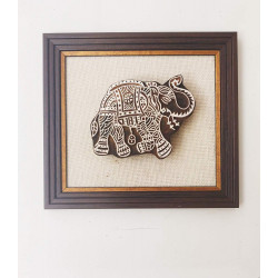 Decorative Framed Wooden Elephant Shaped Block Wall Hanging Wall Decor Handcrafted Home Decor