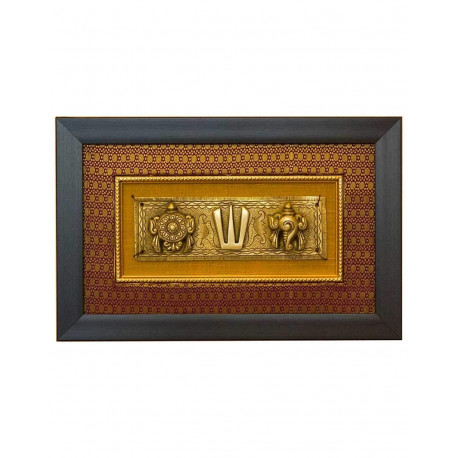 "Rajasthan Emporium and Handicrafts Brass Shankh Chakrah Nama with Cotton Silk and Frame Wall Hanging (9.4"" x 14.7"", Golden)"