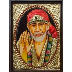 "Rajasthan Emporium and Handicrafts Sai Baba Tanjore Painting with Wooden Frame (6"" x 8"")"