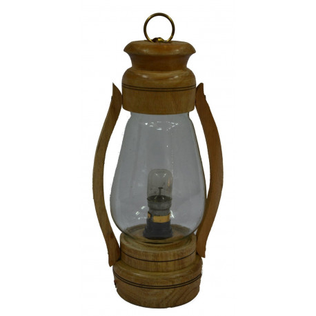 Rajasthan Emporium and Handicrafts Wooden Electric Lantern Lamp (12inch)