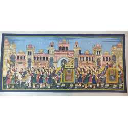 "Rajasthani Art Painting Maharaja Procession Painting Home Decor Wall Decor 48"" x 24"" On Cloth"