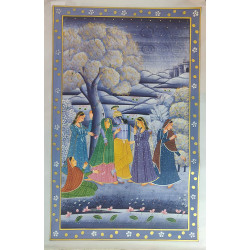 Traditional Rajasthani Handpainted Radha Krishna Painting On Silk