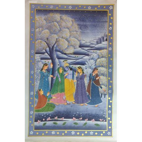 Traditional Rajasthani Handpainted Radha Krishna Painting On Silk