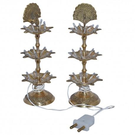 Three Step Electric Brass diya Pair