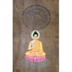 Meditating Budhha Painting on Stamp Paper