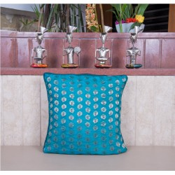 Sea Green Brocade Cushion Cover