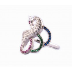 Ethnic Designed Silver Peacock Ring