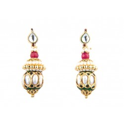 Ethnic Gold Polished Red Stone Jhumki