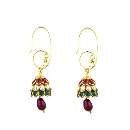 Ethnic Red and Green Stone Dangler Earring