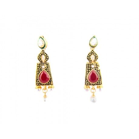 Kundan and Red Bead Antique Finish Earring