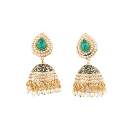 Green Stone and Kundan Jhumki