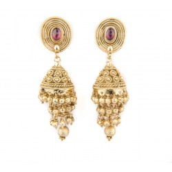 Ethnic Gold Polished Jhumki