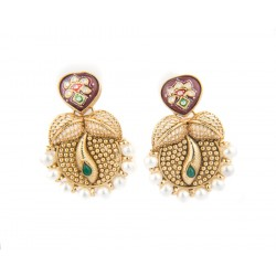 Ethnic Thewa Style Gold Polished Jhumki