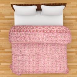Rajasthani Block Print Pink Double Razai