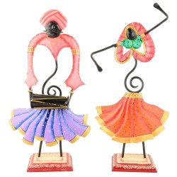 Decorative Wrought Iron Rajasthani Musical Couple Set