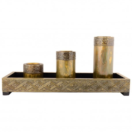 Wooden Three Piece T Light Holder With Tray