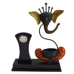 Wrought Iron Ganesha WIth Clock and T Light Holder