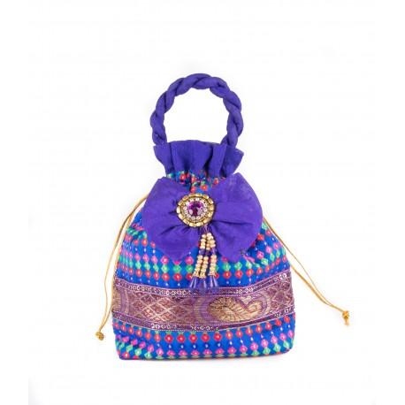 Blue Potli Bag WIth Kundan