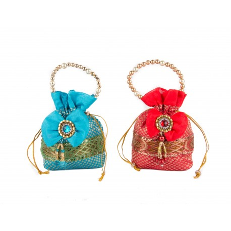 Brocade Blue and Red Potli Bag