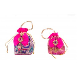 Ethnic Pink and Blue Potli Bag