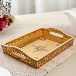 Kushalam Hand Painted Wooden Tray