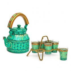 Kaushalam Tea Kettle with six glasses and stand: Eye Charmer